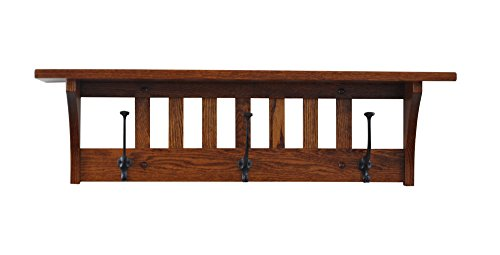 Wood Coat Rack Shelf Wall Mounted, Mission, 3 Hook, Oak Wood, Michaels Stain, Custom Available by Hope Woodworking