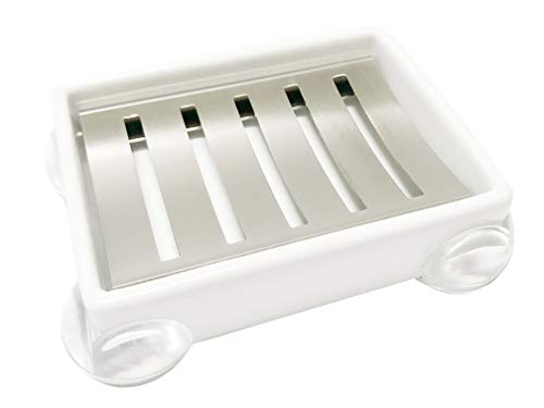 White Ceramic and Stainless Steel Soap Dish, Soap Holder, Soap Box, Soap Case, Soap Tray, Soap Saver, Sponge Holder, Sponge tray, Sponge Drainer, for Bathroom, Shower and Kitchen Sink -