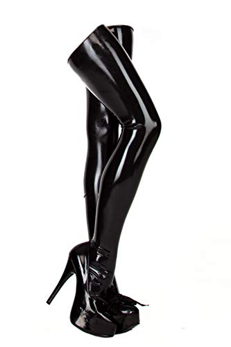 EXLATEX Women's Latex Rubber Thigh High Long Stockings (Large, Black)]()