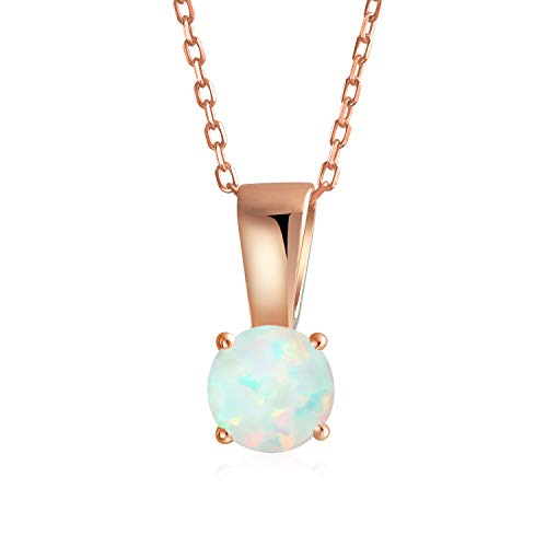1Ct Round Solitaire White Created Opal Pendant Necklace Women Rose Gold Plated 925 Sterling Silver October Birthstone