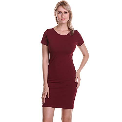 Soatrld Women's Summer Casual T Shirt Dresses Short Sleeve Formal Tunics Club & Night Out Mini Bodycon Dress (M, Wine ()