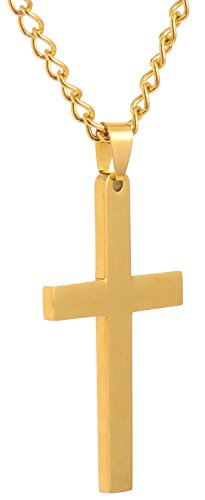[Areke Mens Cross Necklace for Men Women Unisex Stainless Steel Pendant Necklaces Color Gold] (Womens Baseball Costumes)