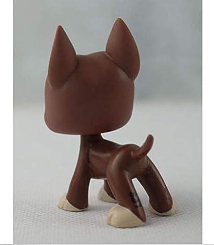 "2/"" Great Dane Dog Littlest Pet Shop Green Eyes Kids Toys LPS #1519 Figure Brown"
