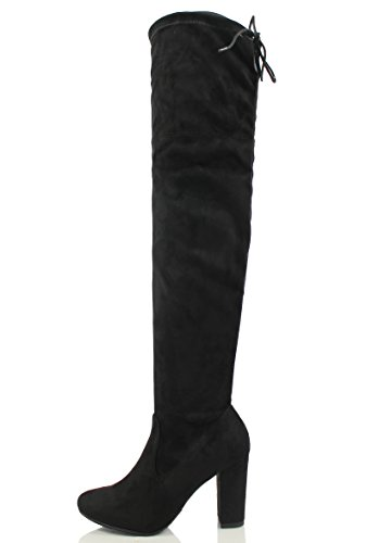Delicious Womens Faux Suede Back Tie Over The Knee Chunky High Heel Dress Boot Black 3ltWEqb