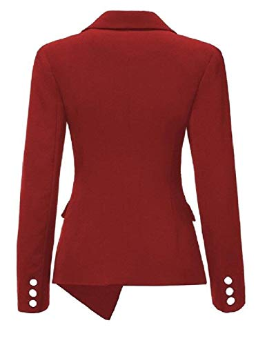Moda Skinny Rot Lunga Cappotto Donna Offlce Bavero Tailleur Ovest Outwear Breasted Giovane Irregular Da Giacca Manica Autunno Puro Colore Single SaBSwqx