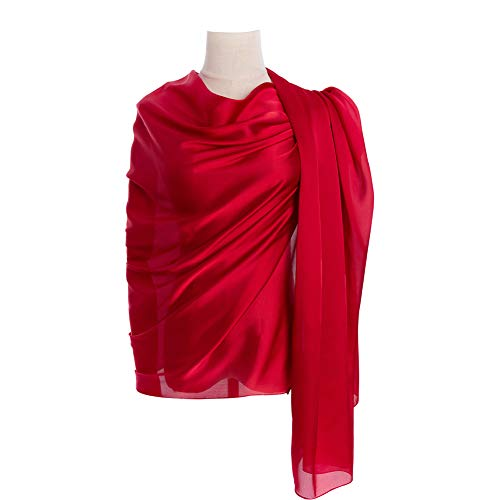 (Cyzlann Women's Scarves 100% Silk Long Lightweight Scarfs for Women (dark red))