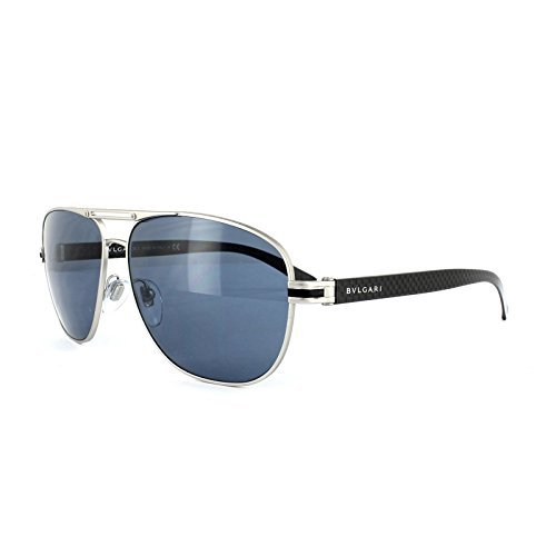 Bvlgari Men's BV5033 Sunglasses Matte Silver / Dark Blue - For Men Sunglasses Bvlgari