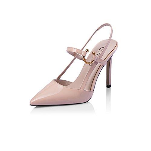 10cm bout taille Chaussures à Stiletto Femmes à 2018 talons Rainbow 34 pointu Noir Abricot Chaussures hauts Nouveau Couleur Baotou Sandales R87rqRM