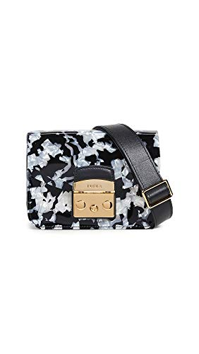 - Furla Women's Metropolis Mini Crossbody Bag, Onyx/Petalo, Black, Print, One Size