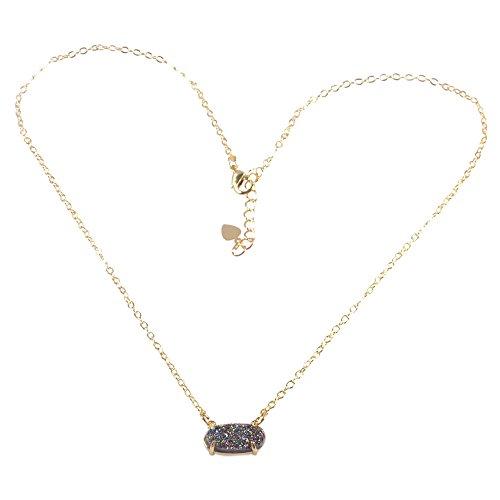 (ZENGORI 1 Pcs Gold Plated Hexagon Natural Agate Titanium Druzy Claw Connector Pendant Necklace Rainbow)