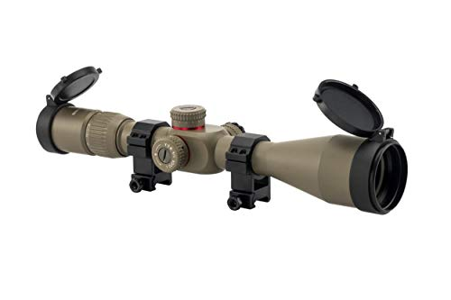 Earth Dots - Monstrum Tactical 4-16x50 First Focal Plane (FFP) Rifle Scope with Illuminated Mil-Dot Reticle and Adjustable Objective (Flat Dark Earth)