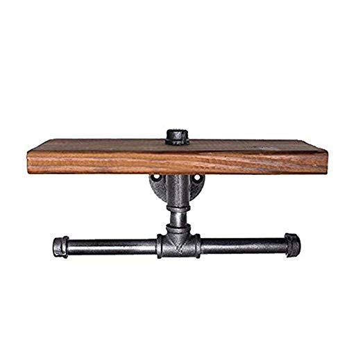 Industrial Toilet Paper Holder with Wooden Shelf or Stainless steel,Toilet Tissue Roll Holder,Rustic Style Water Pipe Wall Mounted,Fashion Display Shelves With Instructions (Paper Towel Holders 02) by Non-Branded (Image #7)