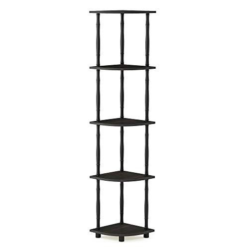 Furinno 18035EX/BK Turn-N-Tube Corner Display Rack Multipurpose Shelving Unit, 5-Tier, Espresso/Black Classic