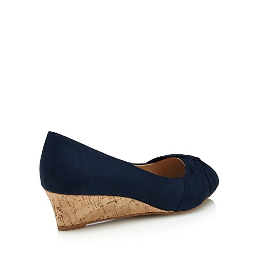 Good for the Sole Womens Navy Suedette 'Gollie' Mid Heel Wide Fit Peep Toe Shoes I8IhB