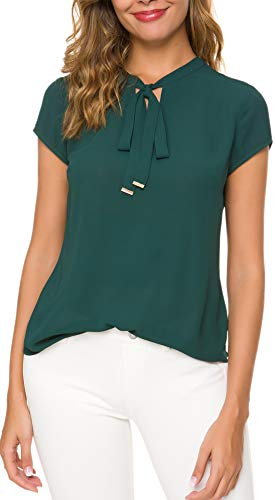 Office Tie - ACONIYA Womens Bow Tie Neck Long/Short Sleeve Blouse Office Work Chiffon Elegant Casual Shirt Tops (XL, Dark Green)