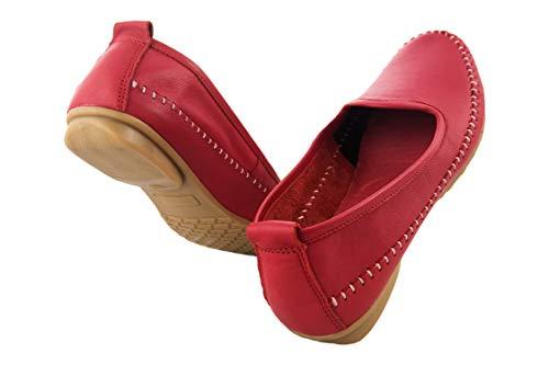 Mocassino Mocassini Confortevoli Scarpe In Confort Donna Rosso Pelle Zerimar Elegante 4wUSUq