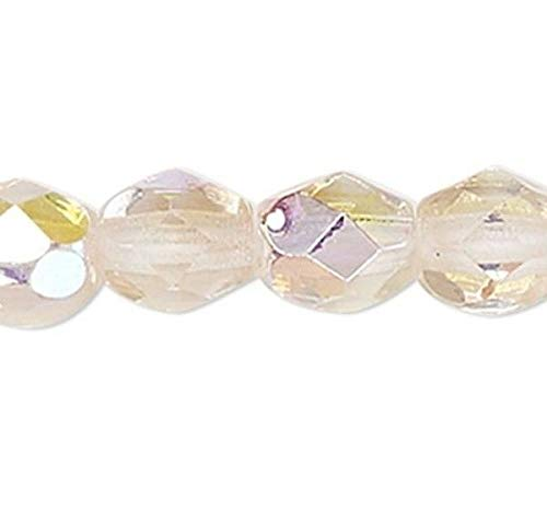 1 Strand Ab Crystal Rose Czech Fire Polished 4Mm Faceted Round Glass Beads