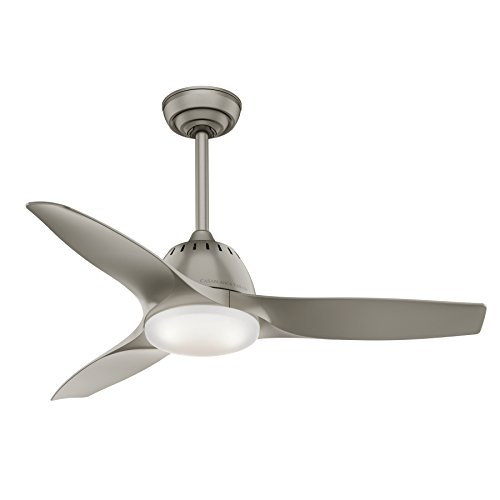 Casablanca Indoor Ceiling Fan with LED Light and Remote Control - Wisp 44 inch, Pewter, 59150