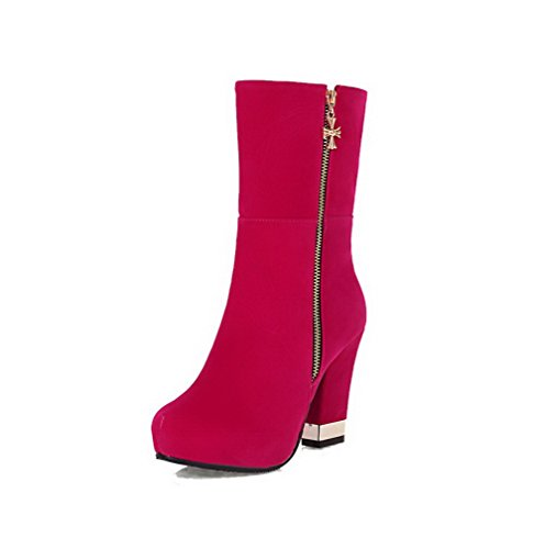 Allhqfashion Women's Round Closed Toe High-Heels Frosted Low top Solid Boots Red idP78