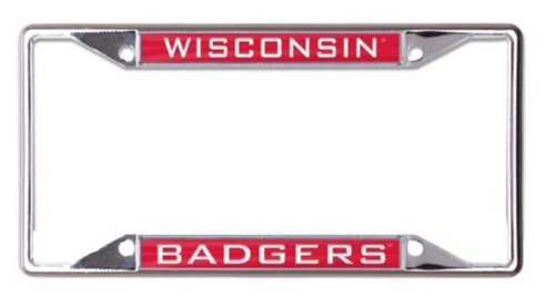 NCAA University Wisconsin Badgers 6 x 12 Inlaid Acrylic/Metal License Plate - Frame Wisconsin Badgers License Plate