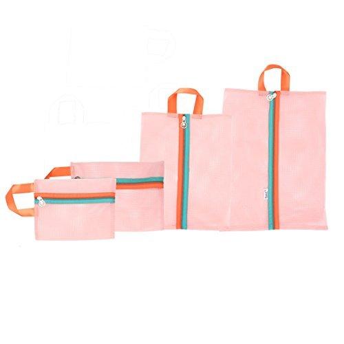 eDealMax polister Travel Net calcetines de la ropa Interior de maquillaje Bolsa Bolsa de almacenamiento 4 en 1 rosa