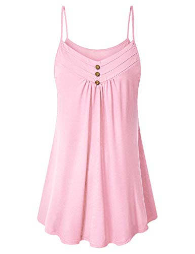 Viracy Dressy Sleeveless Tops for Women, Ladies Office Shirt Sleeveless Long Cami Casual Summer Cotton Tunic Tank Maternity Ultra Soft Well-Fitting Camisole with Leggings Light Pink L