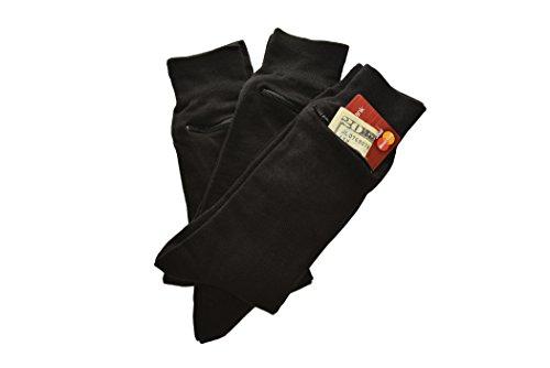 Pocket Socks by Zip It Gear - Dress Socks - Mens (One Size Fits All), 3-Pack, Black