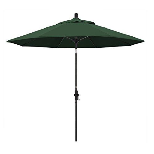 California Umbrella 9' Round Aluminum Pole Fiberglass Rib Market Umbrella, Crank Lift, Collar Tilt, Black Pole, Hunter Green Olefin