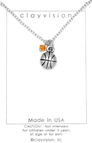 (Clayvision Basketball (Flat) Charm Necklace with a 4mm Topaz Colored Orange Swarovski Crystal November)