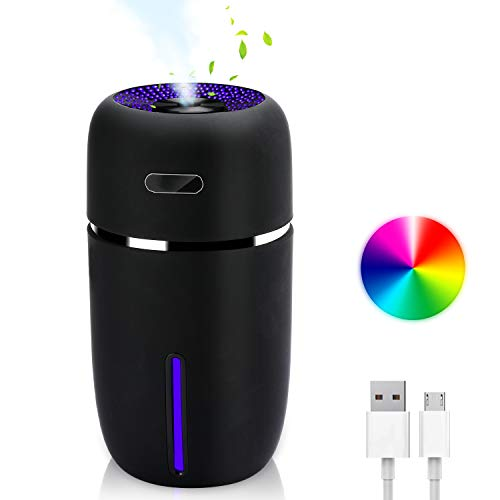 MaStrap Mini USB Humidifier 200ml Ultrasonic Cool Mist 7 Colors Nightlight Auto Shut-Off Whisper Quite Portable Ideal for Bedroom Baby Office Car (Black)