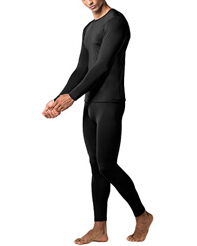 LAPASA Men's Lightweight Thermal Underwear Long John Set Fleece Lined Base Layer Top and Bottom (Medium, - Long Underwear Fleece