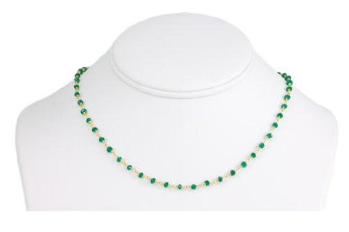 Spyglass Designs 14k Gold Filled Green Onyx Faceted Beaded Chain Goldtone Wired Necklace, 18