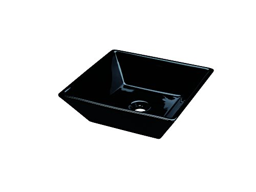 Cheap  RONBOW ESSENTIALS Formation 16 Inch Square Ceramic Vessel Bathroom Sink in Black..