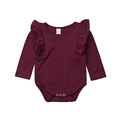 Mubineo Infant Baby Girl Spring Fall Basic Long Sleeve Ruffle Romper Bodysuit Cotton Tops Clothes,Sleep N Play