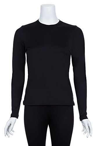A'nue Miami Women's Perfect Crew, Long Sleeve Basic Crew Neck Shirt, Small, Black by A'NUE LIGNE (Image #1)