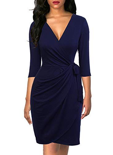 Dress Hem Tulip Navy - Berydress Women's Vintage Sheath Faux Wrap Dress Belted Knee-Length Casual Party Work Dress with Sleeves (M, 6083-Navy)