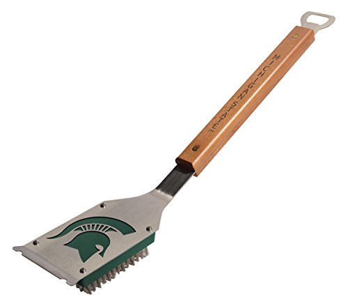 (YouTheFan 9028109 Michigan State Spartans Classic Grill Brush, Stainless Steel with Team Color Accent)