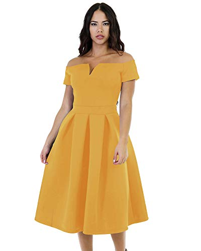 - LALAGEN Women's Vintage 1950s Party Cocktail Wedding Swing Midi Dress Cool-Summer-Yellow XXL