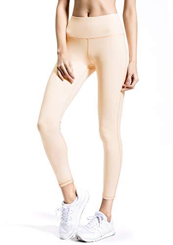 QUEENIEKE Women Power Flex Yoga Pants Workout Running Leggings No See-Through Size S Color Light Pink