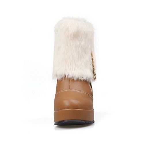 Allhqfashion Ronde Gesloten Teen Laag-hoge High-heels Stevige Mixmaterialen Laarzen Bruin