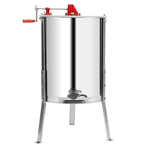 VINGLI Upgraded 4 Frame Honey Extractor Separator,304 Food Grade Stainless Steel Honeycomb Spinner Drum Manual Crank With Adjustable Height Stands,Beekeeping Pro Extraction Apiary Centrifuge - Barrel Silver Finish