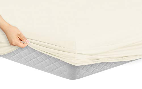 Manor Ridge Luxury 100GSM Brushed Microfiber Hypoallergenic Fitted Sheet, King, Ivory