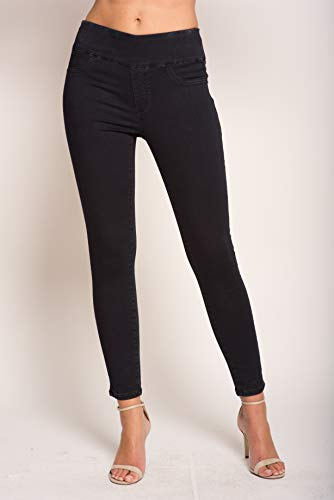 Lior paris Signature Power Stretch Jane Skinny Jeans (Black Denim, 10) ()