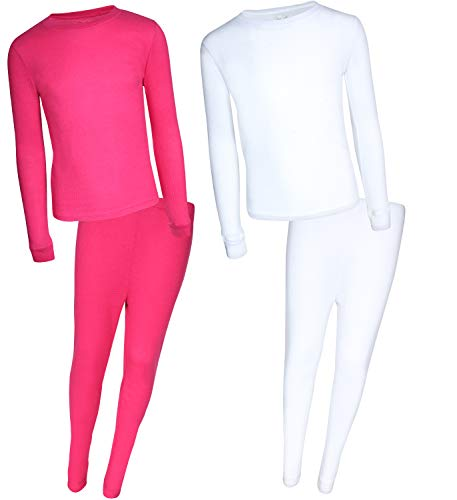 Rene Rofe Girl Waffle Thermal Underwear Top and Pant Set (2 Full Sets) (White/Fuchsia, -