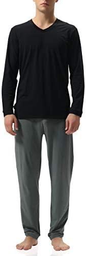 Genuwin Men's Cotton Jersey Lounge Sleepwear Top and Bottom, Long Sleeve Sleepwear Pajama