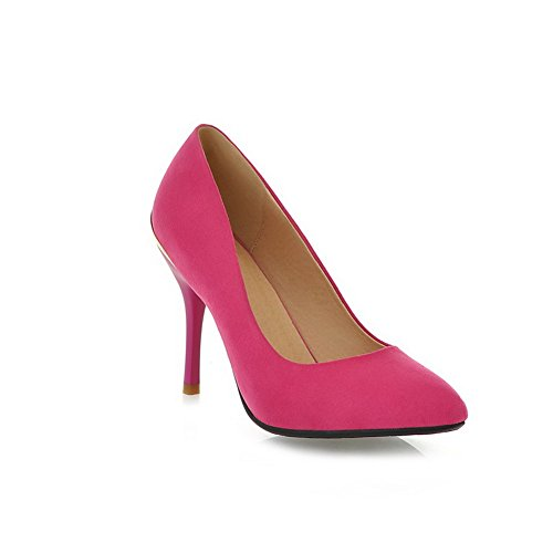VogueZone009 Womans Closed Pointed Toe High Heel Spikes Stilettos Suede Solid Pumps with Non-Slipping Sole, Peach, 4.5 UK