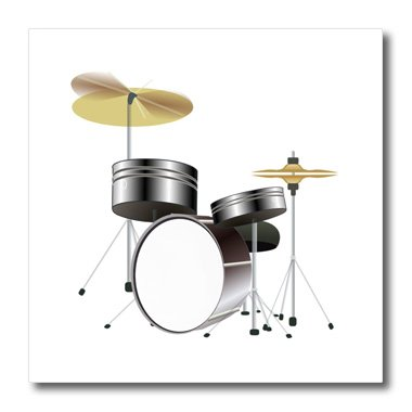 (3dRose ht_174005_3 Image of Silver Drum Set-Iron on Heat Transfer Paper for White Material, 10 by)