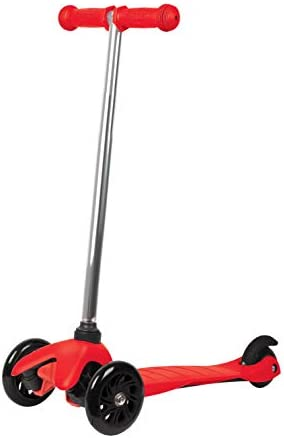 Rugged Racers Red Kick Scooter for Boys Girls 3 Wheel Scooter, Kick Scooter for Kids with PU Wheels, Step Brake, Lean 2 Turn, Ride on Toys for Children 3 Year Plus