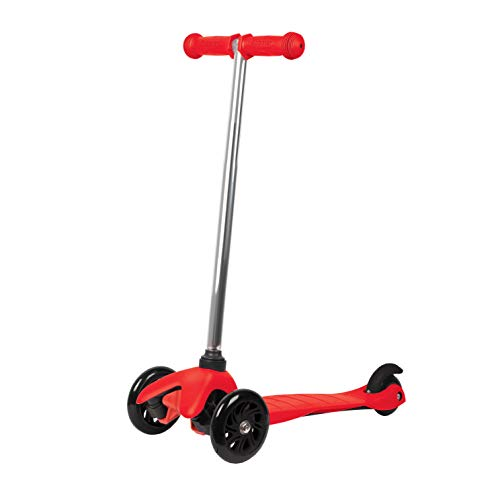 Rugged Racers Red Kick Scooter for Boys & Girls 3 Wheel Scooter, Kick Scooter for Kids with PU Wheels, Step Brake, Lean 2 Turn, Ride on Toys for Children 3 - Racer Girl Red