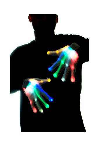 GlowCity Glow-In-the-Dark LED Skeleton Gloves - Flash or Static Light Up Modes -